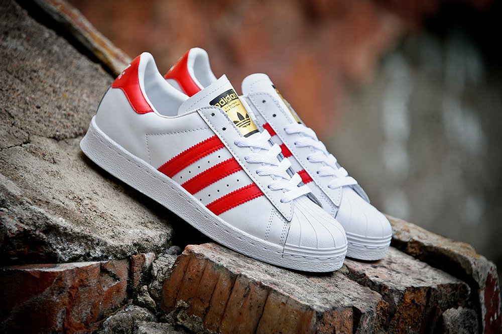 Кроссовки мужские Adidas Superstar 80 s DLX Vintage White   Scarlet Red c612dfb012e5d